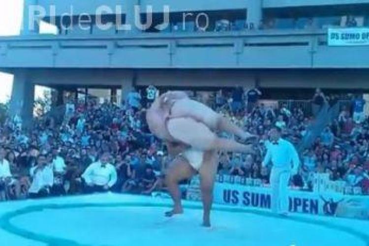 Moment unic la SUMO! A dat de pământ cu un uriaș de 150 de kg - VIDEO