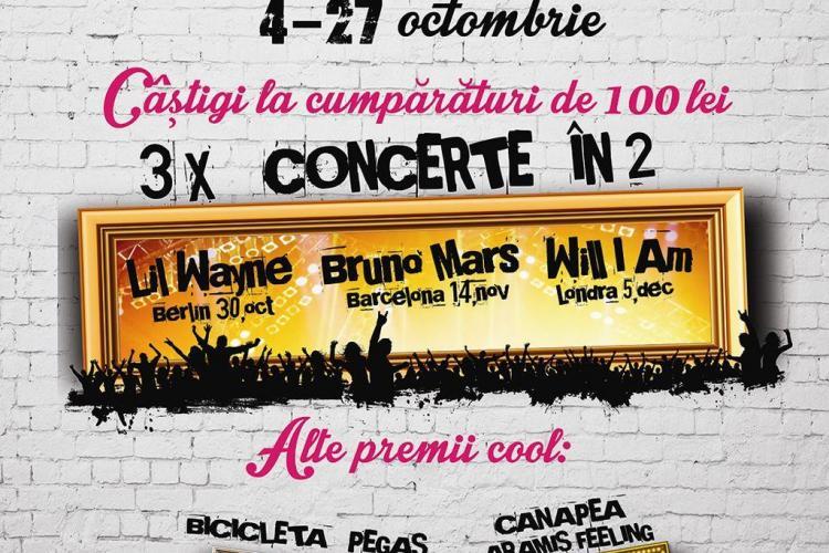 Iulius Mall te trimite la concertele Lil Wayne, Bruno Mars și Will I Am(P)