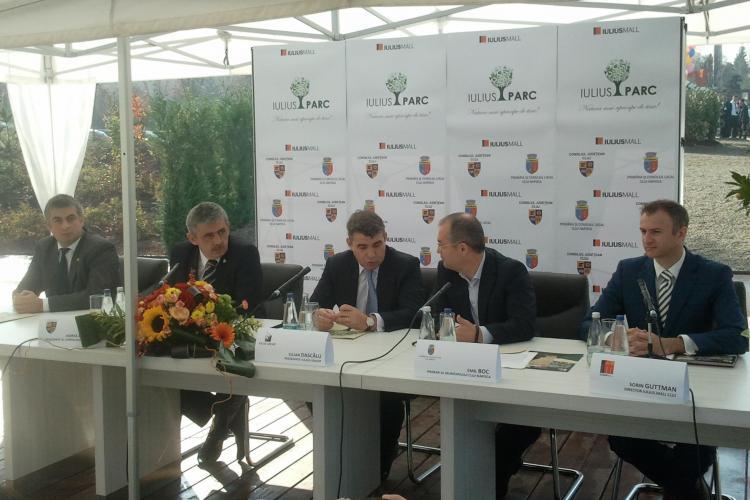 Scandal la inaugurarea Iulius Parc din Cluj. Primarul Emil Boc și președintele CJ Cluj Horea Uioreanu s-au certat pe cine e proprietarul parcului - VIDEO