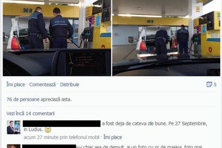 """Polițiști prinși când furau benzină cu bidonașul? Un clujean: """"S-au uitat foarte urât când m-au văzut că îi fotografiez"""" - FOTO"""