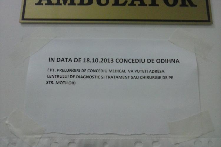 Sancţiuni pentru medicul de la Ambulatorul Spitalului de Ortopedie Cluj, care a ÎNCHIS şi s-a dus în concediu