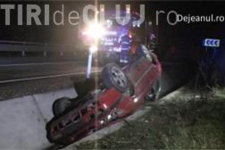 Accident pe DN1-C. S-a răsturnat cu mașina în șanț, mort de beat VIDEO