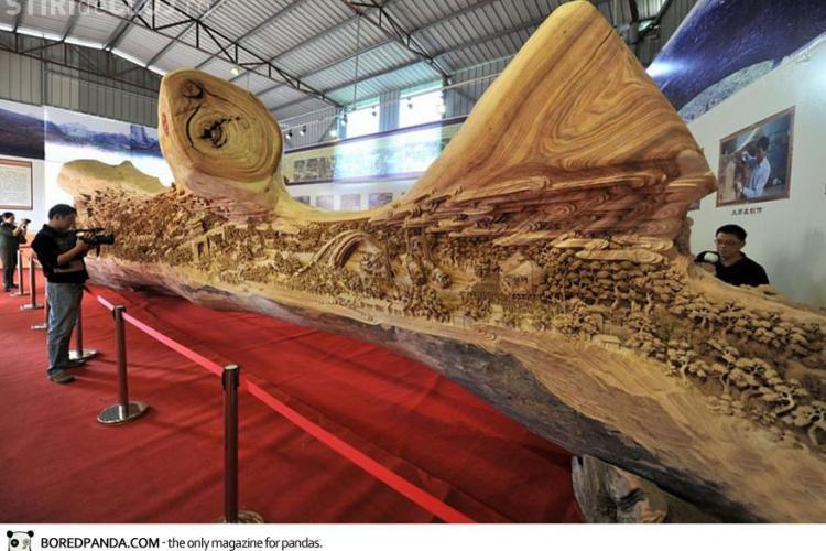 Cea mai mare sculptură în lemn. Are 12 metri și a fost realizată în 4 ani FOTO