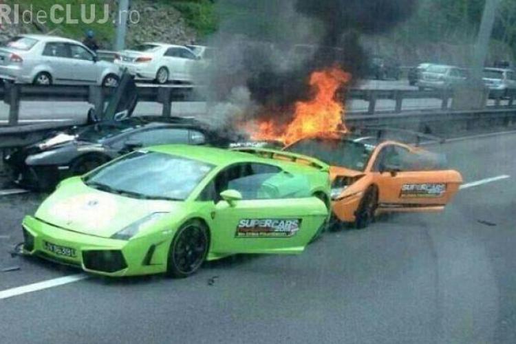 Cel mai SCUMP accident al anului! Trei Lamborghini au luat foc pe  autostradă