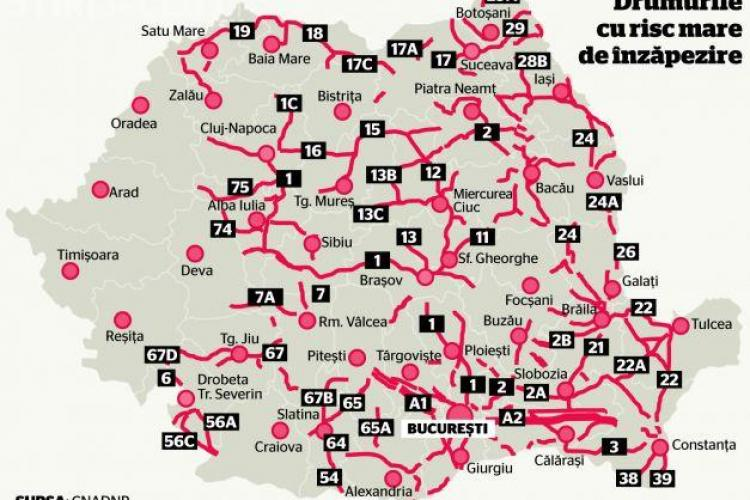 CNADNR a emis harta drumurilor cu risc de înzăpezire. Vezi unde riști să rămâi blocat