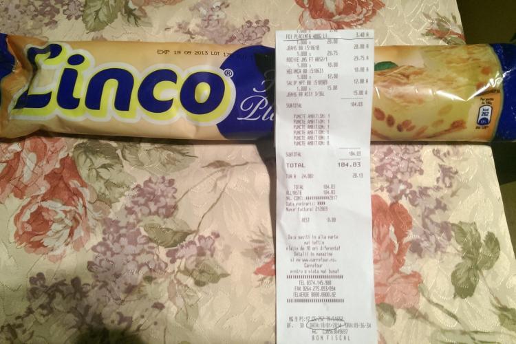 Produs expirat de patru luni VÂNDUT în supermarketul Carrefour din Polus Center - FOTO