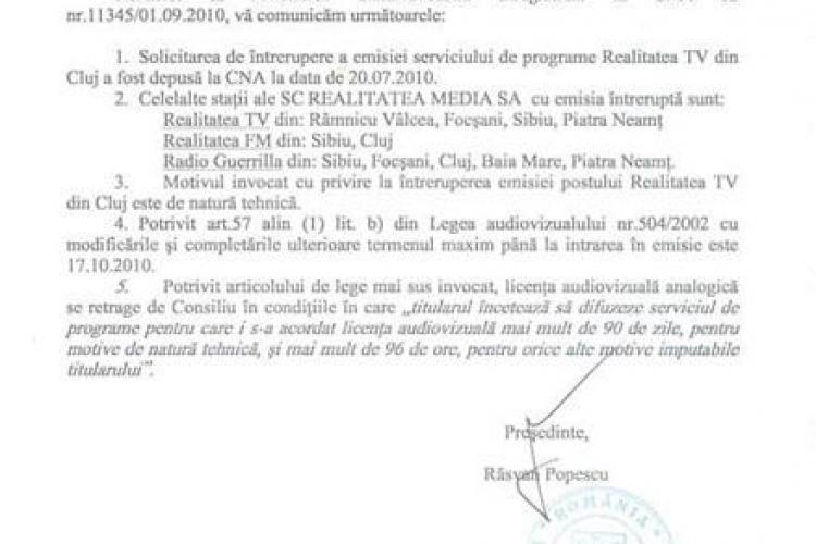 Realitatea TV Cluj a depus la CNA o cerere de intrerupere a  emisiei, cu mai mult de o luna inainte ca proprietarul sa puna lacat pe sediu-  EXCLUSIV