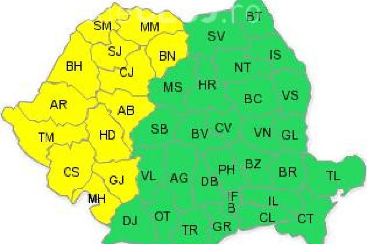 Cod galben de ploi si vijelii la Cluj