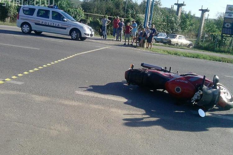Accident in Gherla! Un biciclist a fost lovit de un motociclist