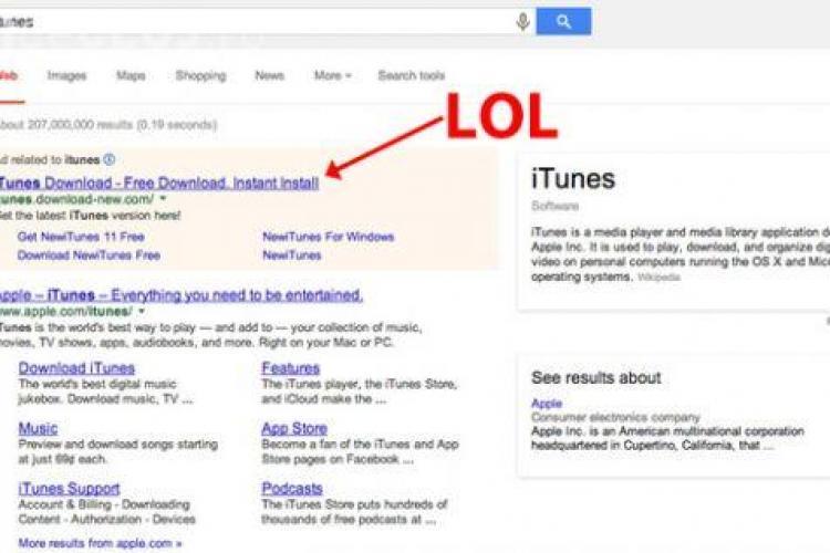 """Lovitură grea pentru Apple din partea Google. Vezi ce riști să pățești când cauți """"iTunes"""""""