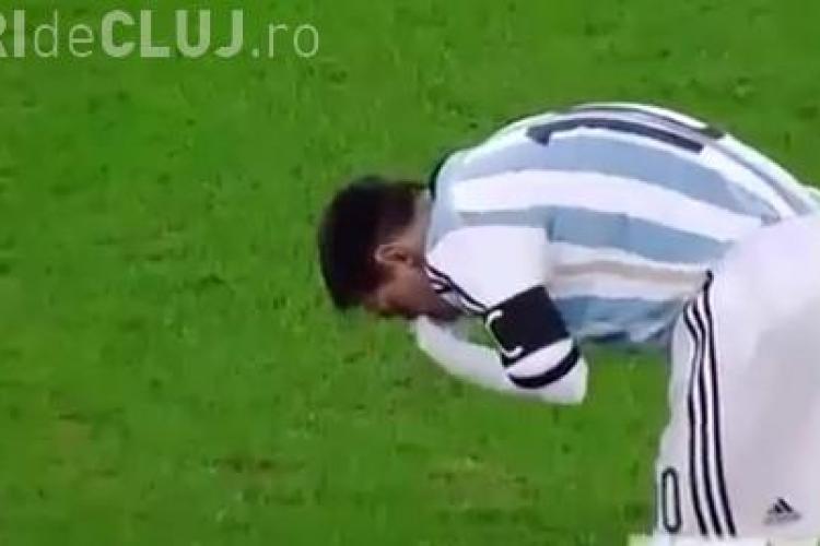 Messi a vomitat în timpul partidei România - Argentina - VIDEO