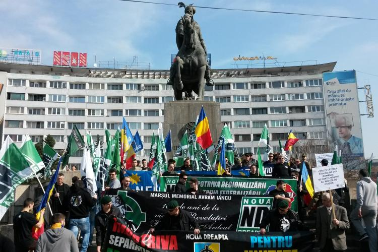 Extremiștii de la Noua Dreaptă au ieșit în marș la Cluj: Noi suntem naționaliști! - VIDEO