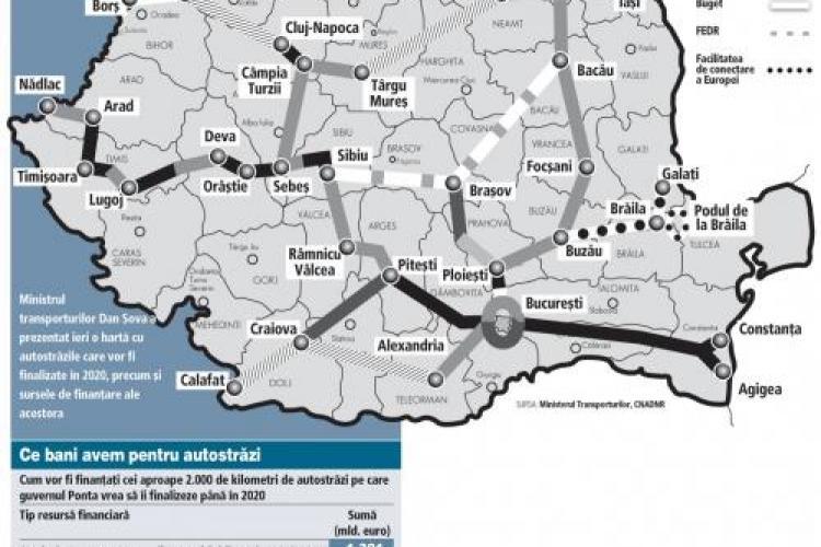 HARTA autostrăzilor din România până în 2020: Ajungem la 2.440 km finalizați
