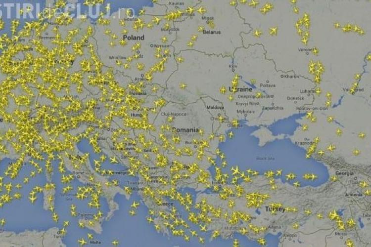 """România a fost """"invadată"""" de avioane, după prăbușirea avionului in Donetk. VEZI harta curselor"""