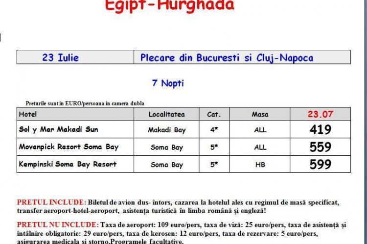 Ofertă specială pentru Egipt cu zbor din Cluj: 419 euro, ALL Inclusive, la hotel de patru stele (P)
