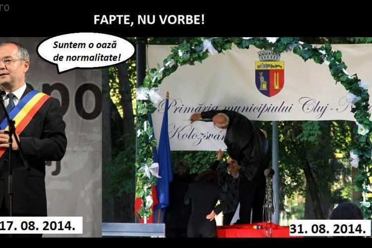 Activiștii care au pus ILEGAL un banner maghiar în Parcul Central sunt furioși - FOTO