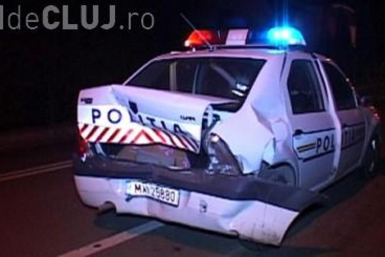 Accident dublu la Dej. A fost implicată și o mașină de poliție VIDEO