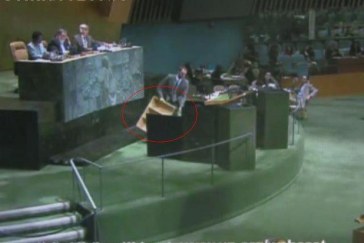 Boc a avut nevoie de un podium de lemn ca sa ajunga la microfon si sa vorbeasca la Adunarea ONU- VIDEO