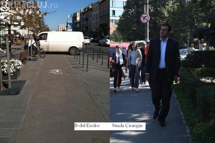 Apostu a batut la pas orasul pentru a sustine Saptamana Mobilitatii. Clujeanul de rand s-a lovit de masini parcate pe trotuar