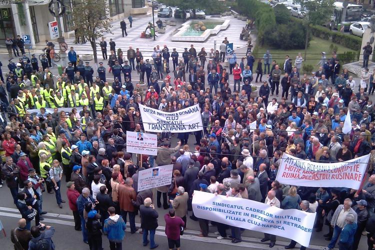 Mitingul sindicalistilor din Cluj, in imagini - Galerie FOTO