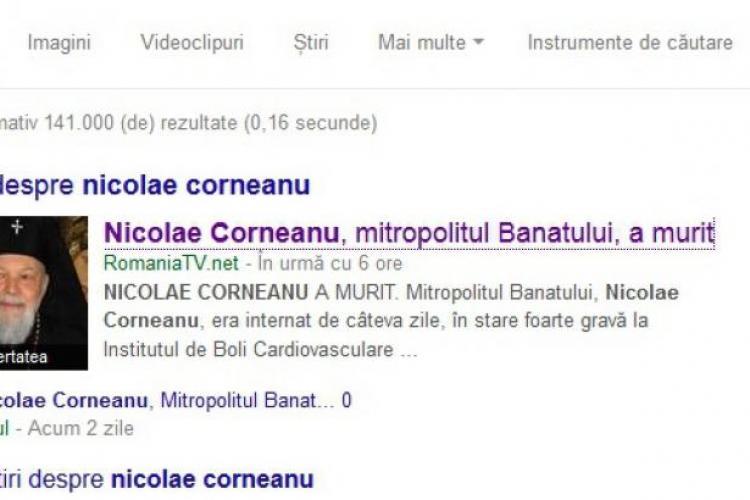 Mitropolitul Banatului a fost declarat mort de România TV