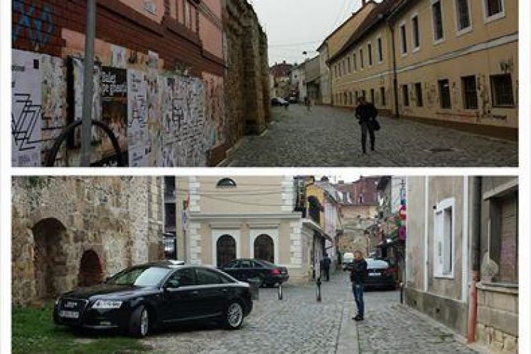 Mașinile de lux se pozează la Cluj lângă zidul Cetății Clujului, pe pietonală - FOTO