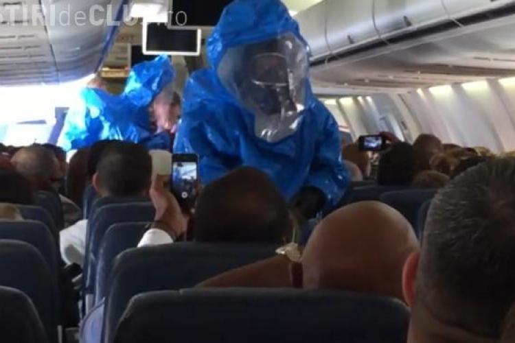 Farsă nereușită la bordul unui avion. Un bărbat a panicat pasagerii spunând că are Ebola VIDEO