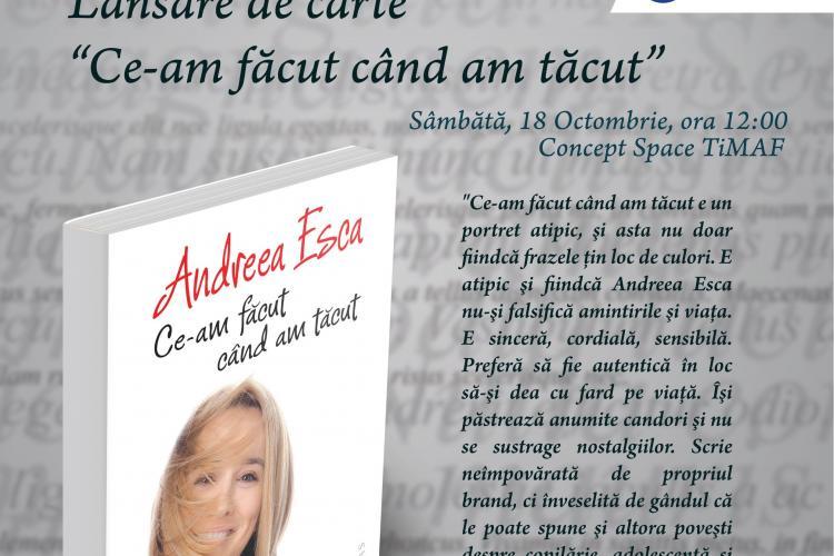 Andreea Esca își lansează noua carte la TiMAF, în săptămâna dedicată modei românești