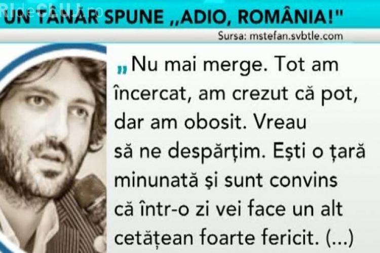 """Scrisoarea unui TÂNĂR care spune """"ADIO, ROMÂNIA!"""". Tot internetul a citit-o"""