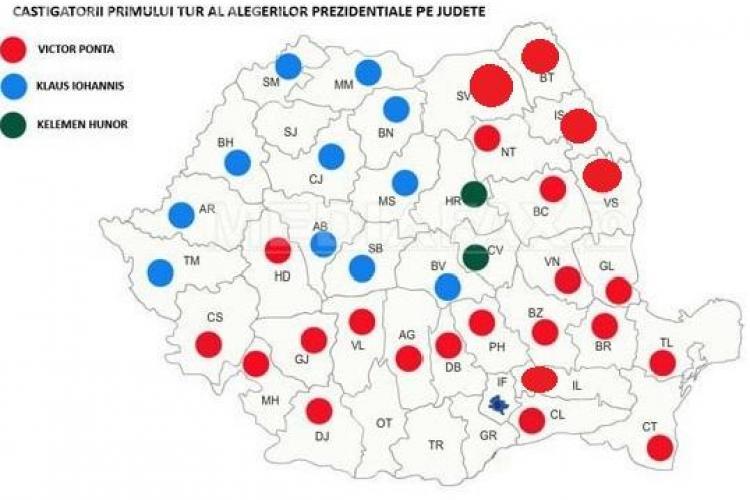 REZULTATE VOT: Cum s-a colorat țara? Transilvania e albastră, iar restul țării e Roșu