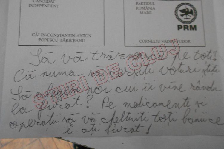 """Urarea unui clujean către politicieni! Ce a scris pe buletinul de vot: """"Să vă dați banii FURAȚI pe medicamente ..."""" - FOTO"""