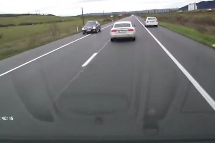 Cum se depășește pe acostament pe drumul de la Cluj la Dej VIDEO