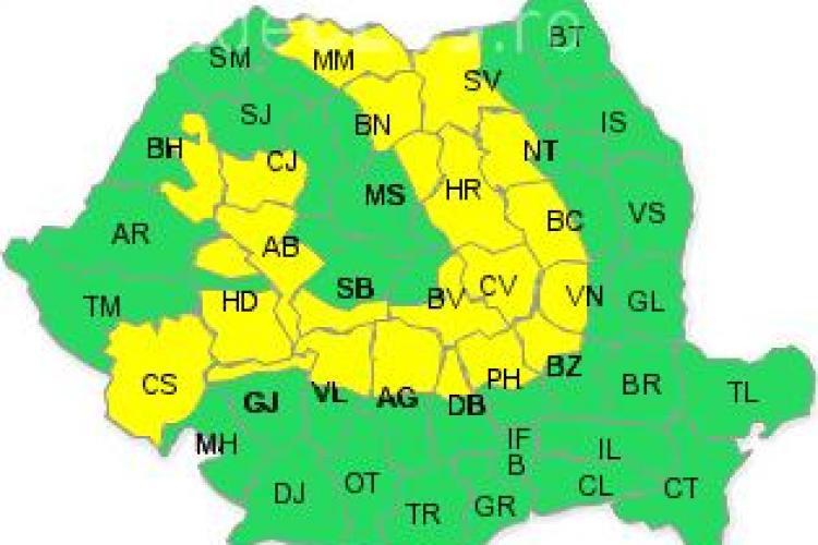 Cod GALBEN de vreme rea! Clujul este afectat