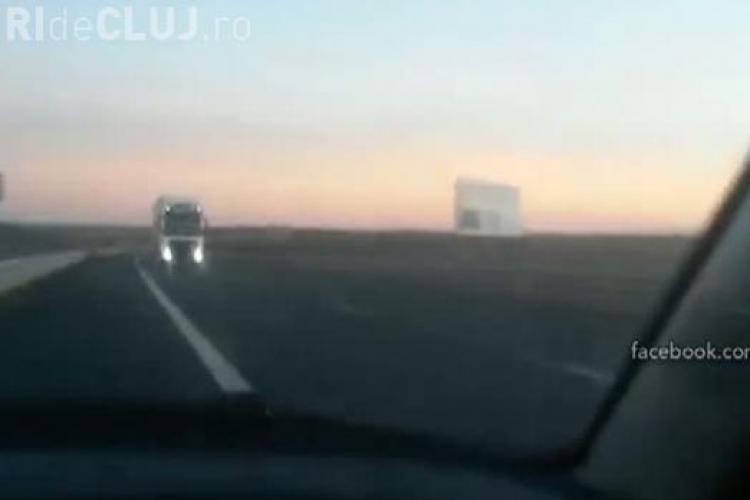 A circulat pe contrasens pe Autostrada Transilvania și s-a și filmat - VIDEO