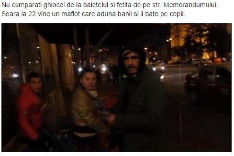 Un mafiot confiscă banii copiilor care vând ghiocei în centrul Clujului. Un clujean a intervenit - VIDEO