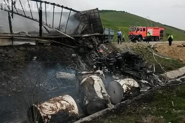 Un TIR a luat foc pe centura Vâlcele - Apahida