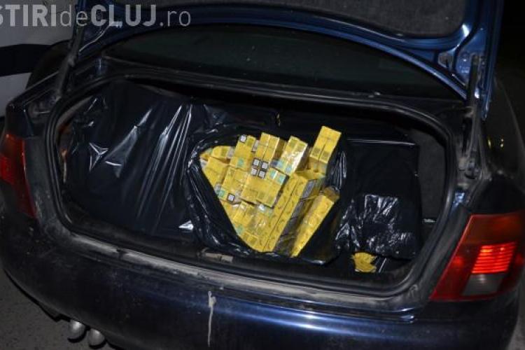 Contrabandist prins de polițiștii clujeni. Avea mașina plină de băutură și țigări